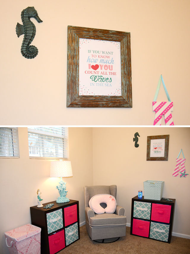 "Spotofteadesigns.com Reader's Feature - Betsy's Baby nursery featured a ""count the waves"" printable customized in her color schemes."