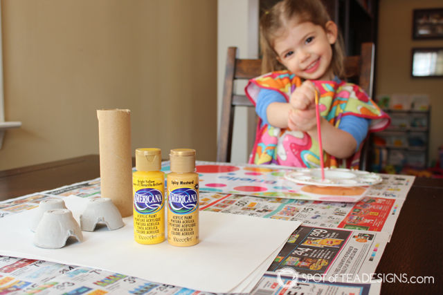 Sunshine Valentines Kids Crafts - recycled painting activity for toddlers | spotofteadesigns.com