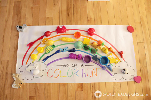 Rainbow Color Hunt Toddler Activity