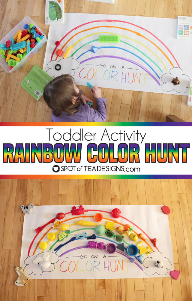 Send kids on a rainbow color hunt (made from a large paper scroll) | spotofteadesigns.com