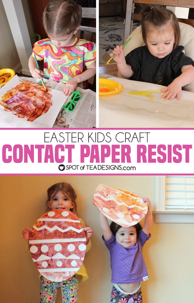 Easter Kids Craft: Conact Paper Resist Easter Eggs | spotofteadesigns.com