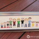 Handmade Gift Idea: Framed Cross Stitch Extended Family Portrait