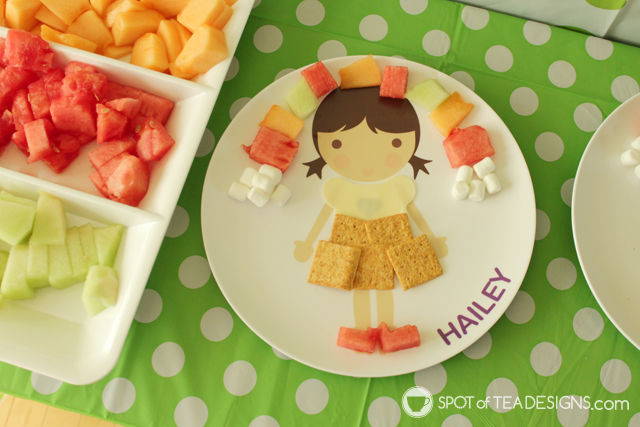 Personalized plate from Dylbug brand decorated with colorful food | spotofteadesigns.com