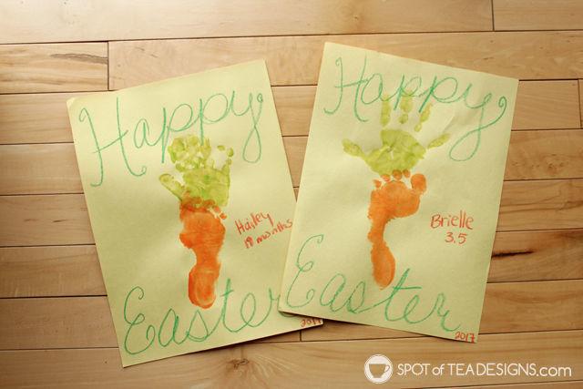 Easter Carrot Handprint Footprint Kids Craft