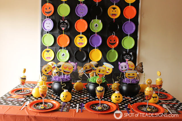 Halloween Emoji Party as created by spotofteadesigns.com for wholesalepartysupplies.com