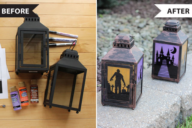 Halloween Before and Afters - turn summer lanterns into aged Halloween lanterns | spotofteadesigns.com