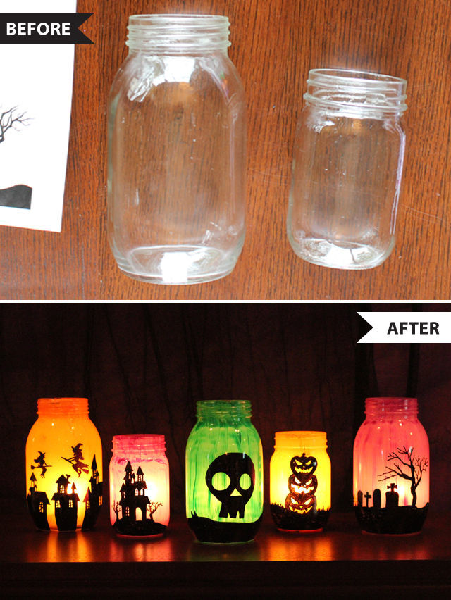 Halloween Before and Afters - make mason jar luminaries with the help of free printable templates | spotofteadesigns.com