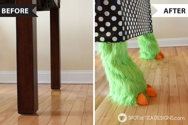 Halloween Before and Afters - make your table legs into MONSTER table legs with the help of fuzzy leg warmers | spotofteadesigns.com