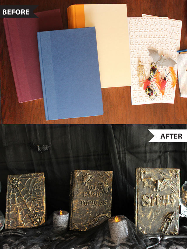 Halloween Before and Afters - Turn hard cover books into magic spell books | spotofteadesigns.com