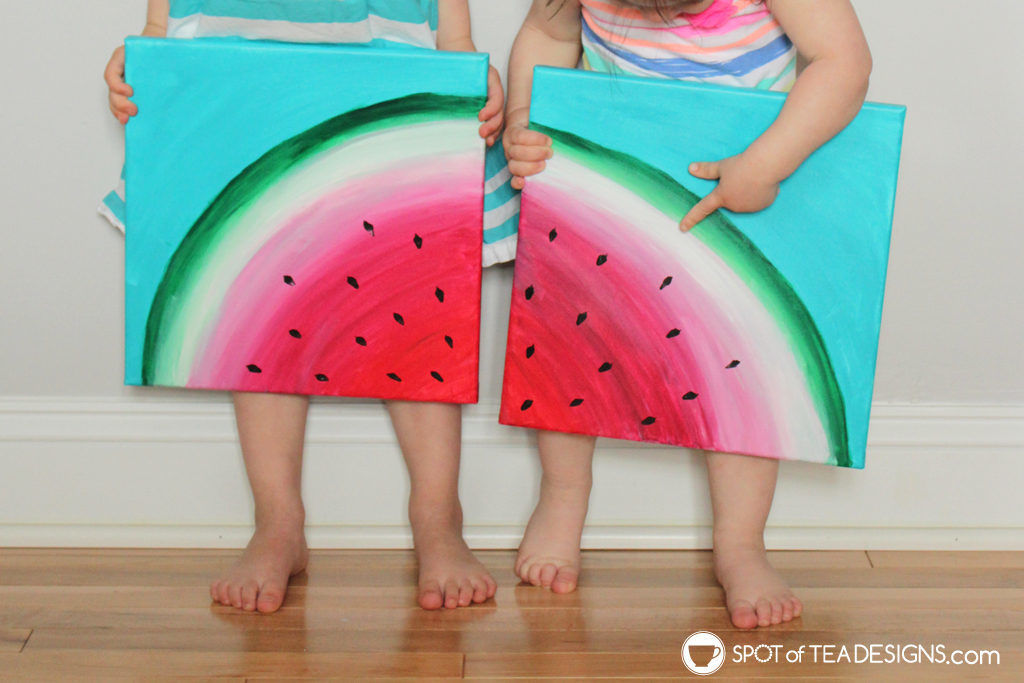 Watermelon canvas art featuring @Decoart_inc Americana Premium Paints | spotofteadesigns.com