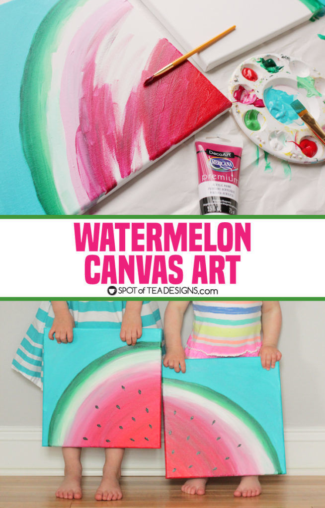 Sweet summer watermelon canvas art spot of tea designs for Step by step canvas painting for kids