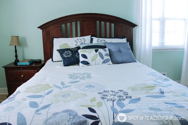 Calming and relaxing master bedroom mini makeover | spotofteadesigns.com