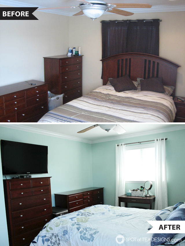 Calming and relaxing master bedroom mini makeover -before and after | spotofteadesigns.com