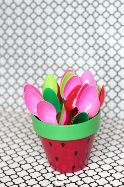 Watermelon utensil pot - paint terra cotta pots for festive table decor for your summer party! | spotofteadesigns.com