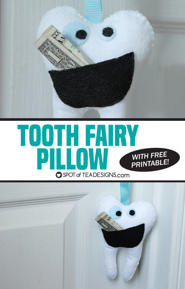 Tooth Fairy Pillow with free printable template | spotofteadesigns.com