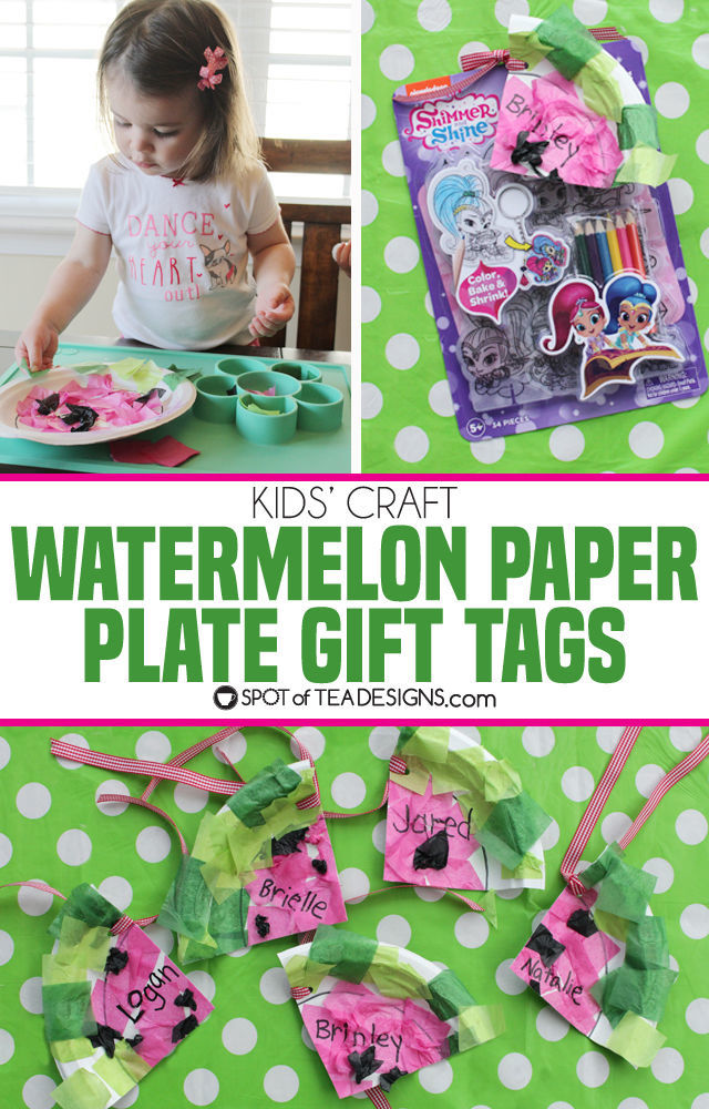 Kids Craft | Watermelon Paper Plate Gift Tags