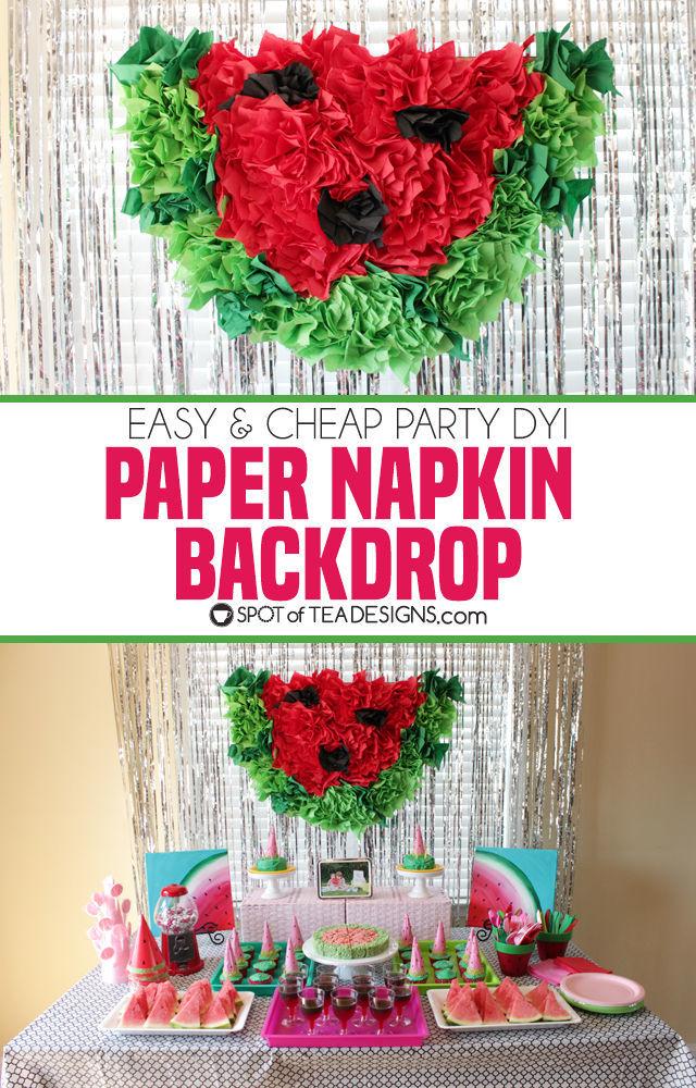 Watermelon Birthday Party | Paper Napkin Party Backdrop
