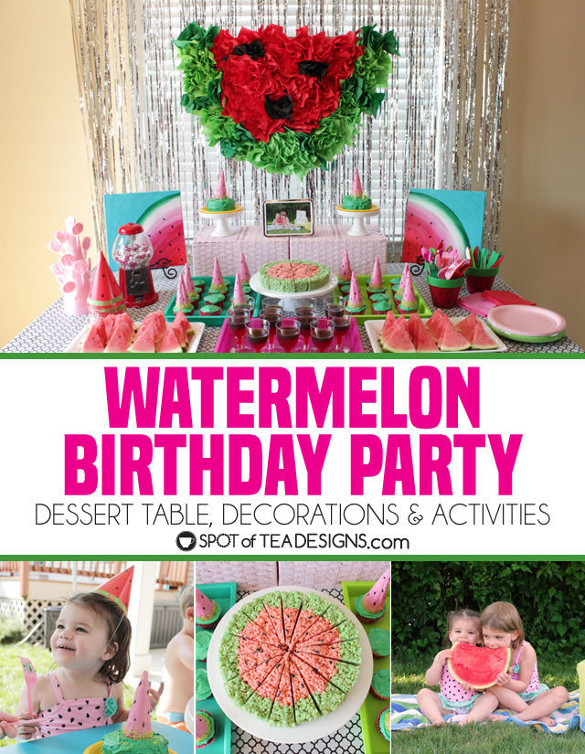 Watermelon party ideas - dessert table, decorations and activities | spotofteadesigns.com