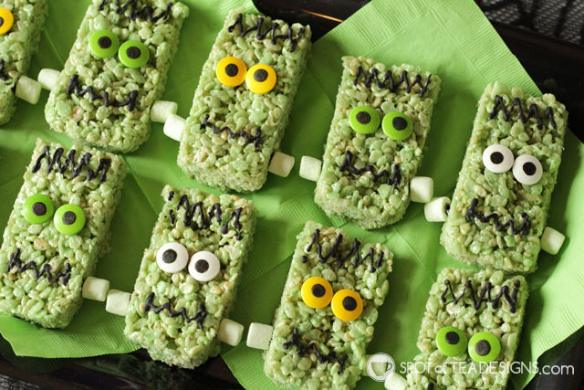 Cute Halloween Food ideas for Kids - frankenstein rice krispies treats | spotofteadesigns.com
