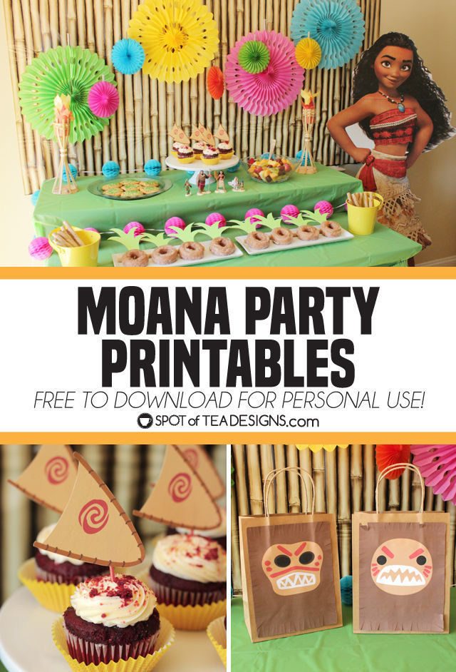 Moana Party Printables Including Cupcake Toppers And Favor Bags Download For Personal Use Free