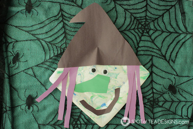 Halloween Kids Craft paper plate witch with shaving cream painting technique! | spotofteadesigns. & Halloween Kids Craft: Paper Plate Witch | Spot of Tea Designs
