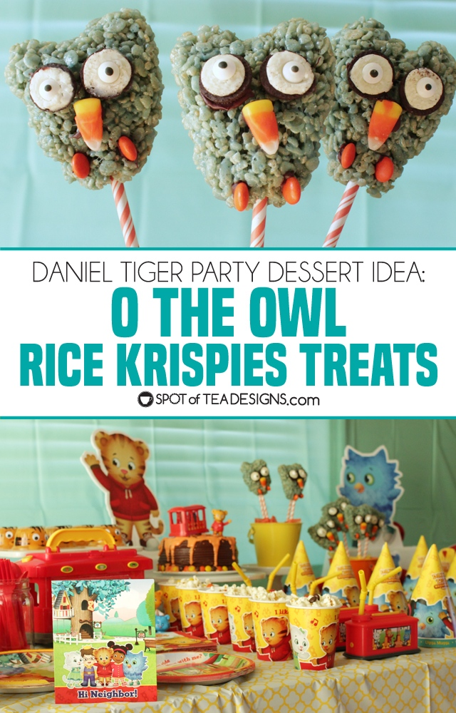 Daniel Tiger Party Treat: O the Owl Rice Krispies Treats Pops