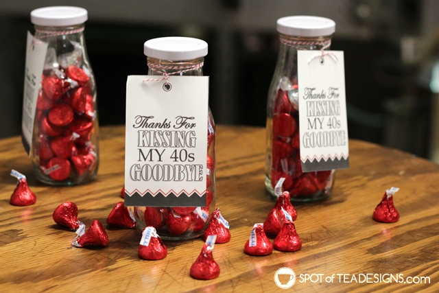 Adult birthday party favors - kissing the decade goodbye. Free printables available! | spotofteadesigns.com
