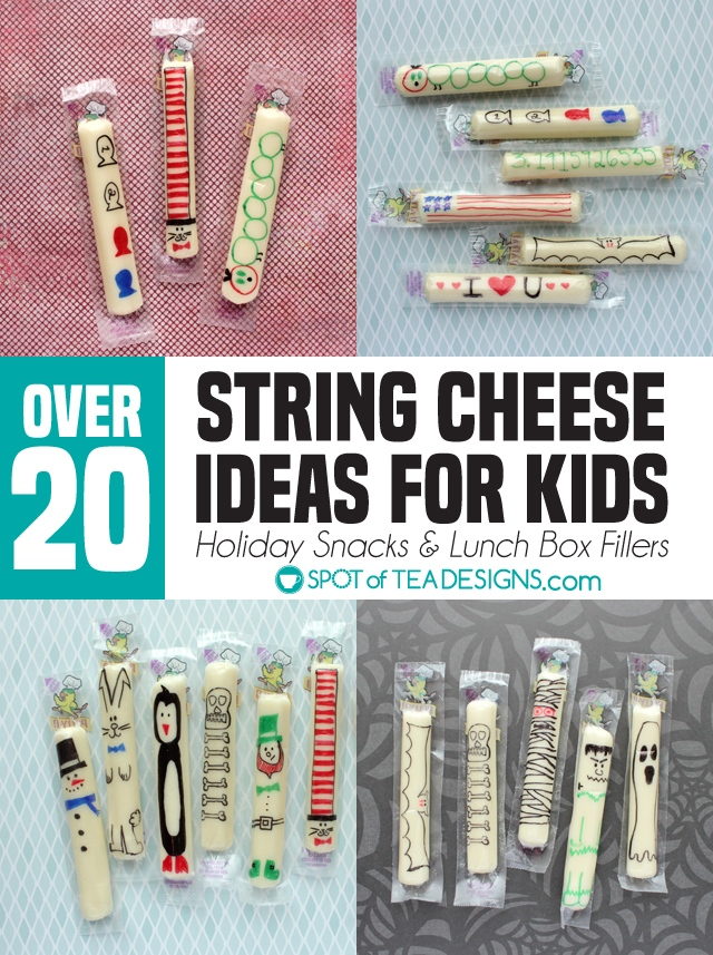 20+ string cheese ideas for kids for holiday snacks and lunchbox fillers | spotofteadesigns.com