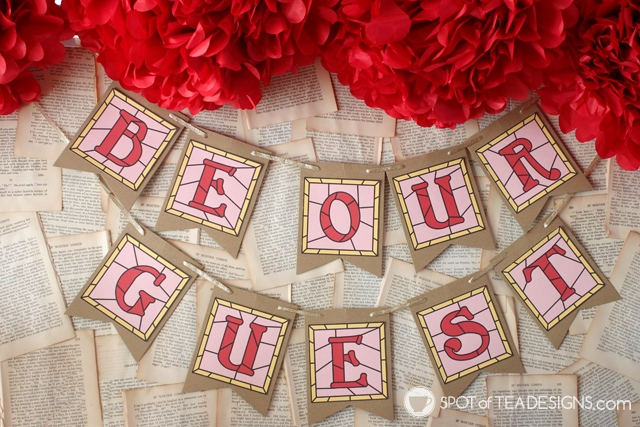 Beauty and the Beast Party Hacks - free printable stained glass be our guest banner   spotofteadesigns.com