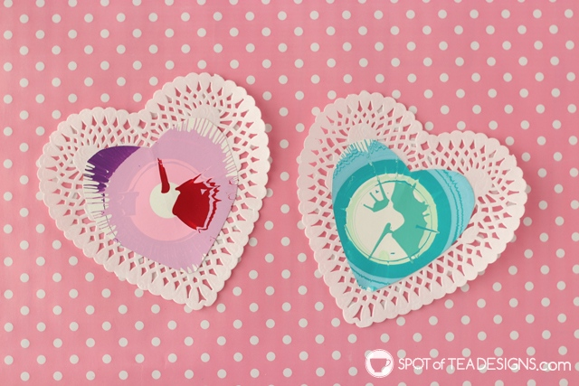 Spin art valentines day cards - a fun interactive kids craft | spotofteadesigns.com