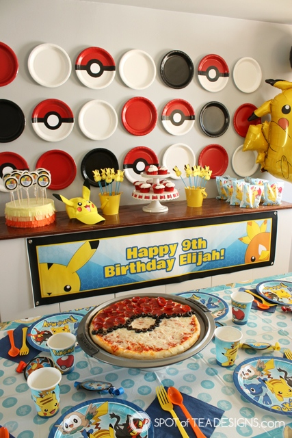 Pokemon Birthday Party Paper Plate Backdrop Tutorial | spotofteadesigns.com
