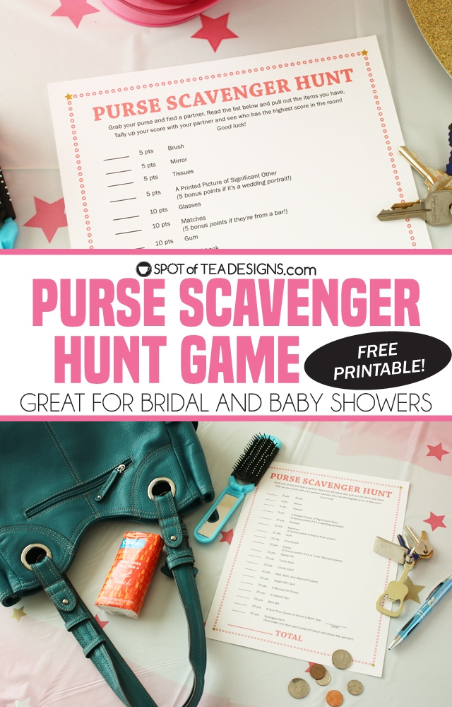 purse scavenger hunt game with free printable great for baby showers and bridal showers