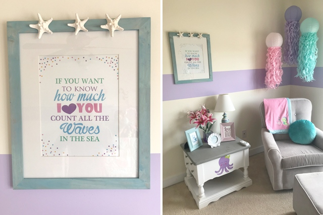 "custom ""if you want to know how much i love you"" print designed by spotofteadesigns.com showcased in mermaid themed nursery. Available in the Spot of Tea Designs Etsy shop!"