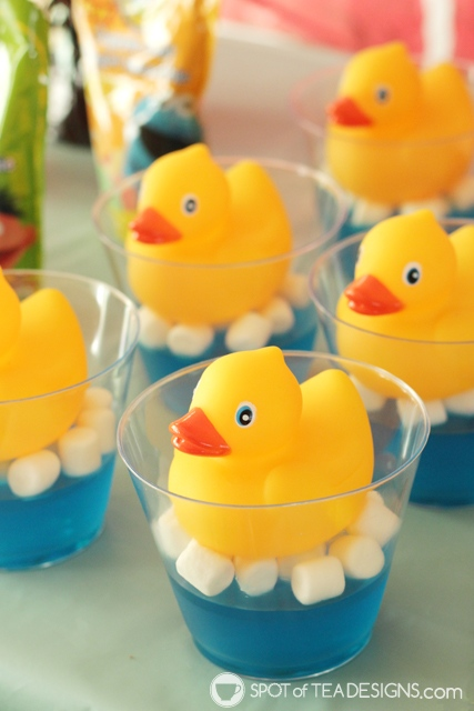 Cute Jello Party desserts - rubber duckies used in sesame street party | spotofteadesigns.com