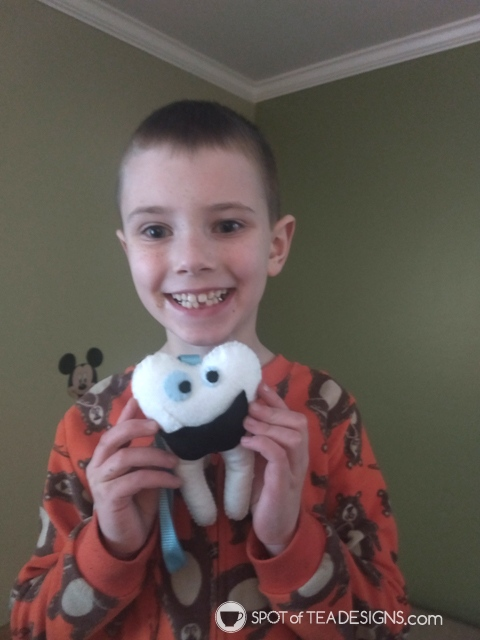 Reader's Feature - Blake and the handmade tooth fairy pillow. free template on spotofteadesigns.com