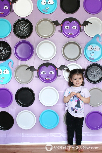 Paper plate party decor - use free printables to create vampirina for a halloween or birthday party | spotofteadesigns.com