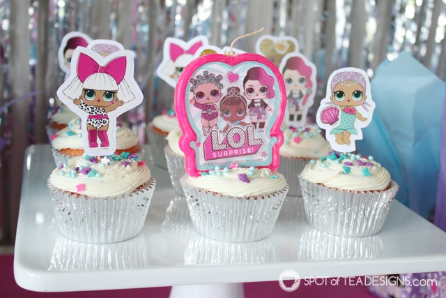 L.O.L. Surprise Party | Surprise Cupcakes tutorial - make the dessert as fun as the toys with hidden candies! | spotofteadesigns.com