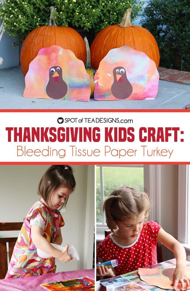 Thanksgiving Kids Craft: Bleeding Tissue Paper Turkey | Spotofteadesigns.com