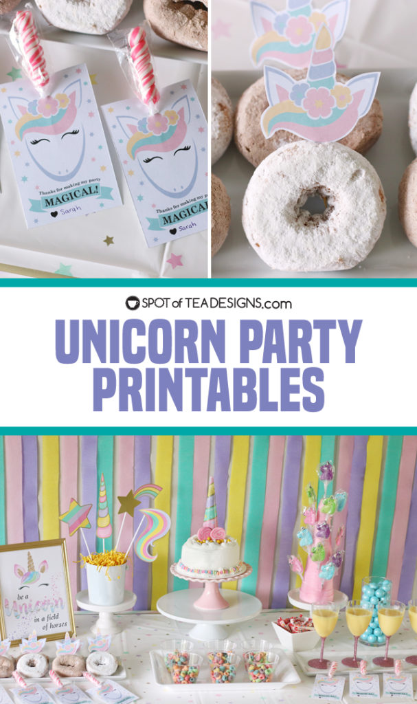 unicorn party printables available on etsy as instant download | spotofteadesigns.com