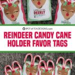 Reindeer Candy Cane Holder Favor Tags
