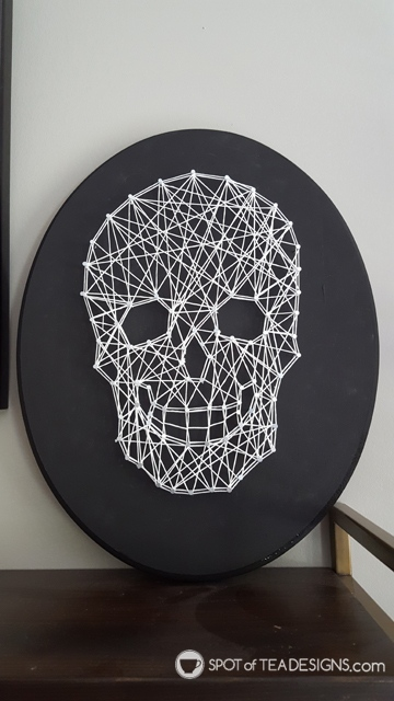 spotofteadesigns.com 2018 reader's feature - string art skull made from template and tutorial provided