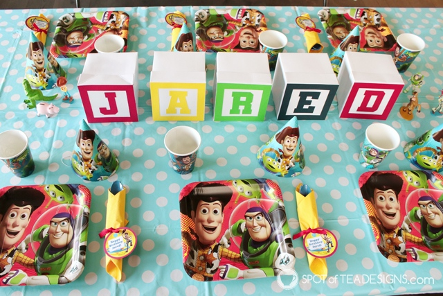 Toy STory Party Hacks - White boxes turn into alphabet blocks as centerpiece | spotofteadesigns.com