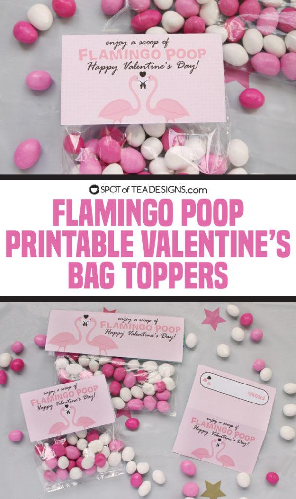 Flamingo Book printable valentine's bag topper | spotofteadesigns.com
