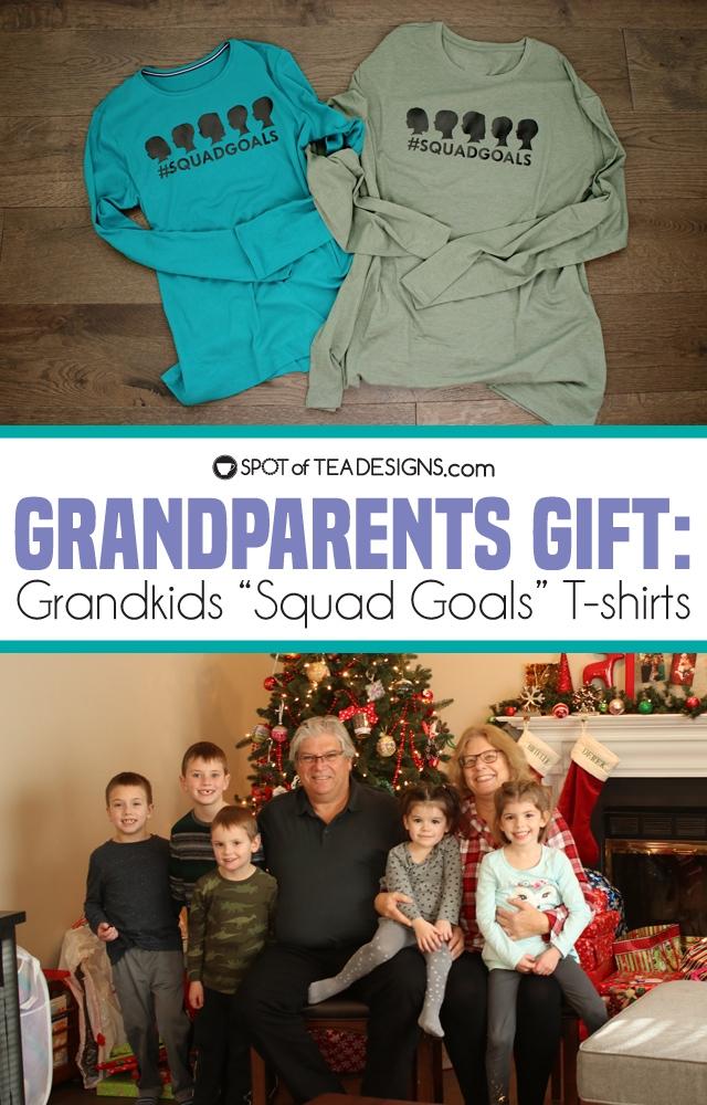 Grandparents gift: Grandkids squad goals tshirt using Cricut Vinyl | spotofteadesigns.com
