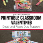 Printable Classroom Valentines | Bugs and Kisses Bag Toppers
