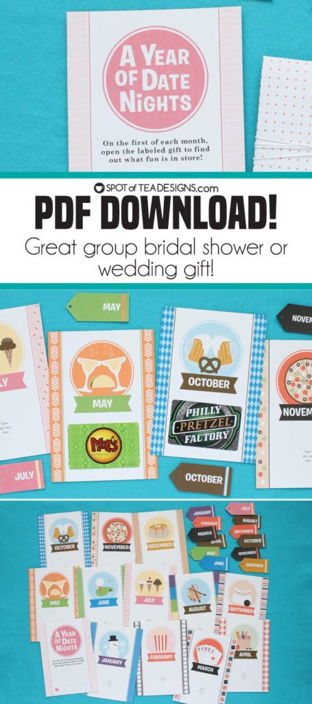 Year of Date Night Kit - this instant download PDF is great for group bridal shower gifts or wedding gifts! | spotofteadesigns.com